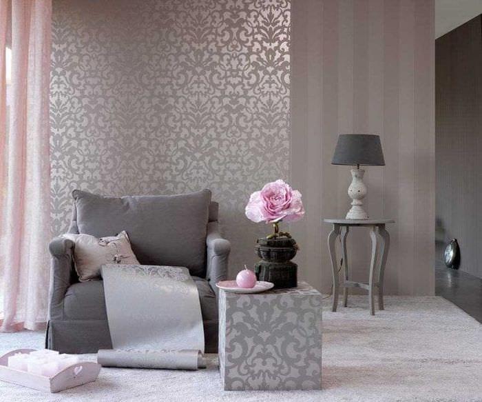 сочетание яркого серого в декоре спальни с другими цветами