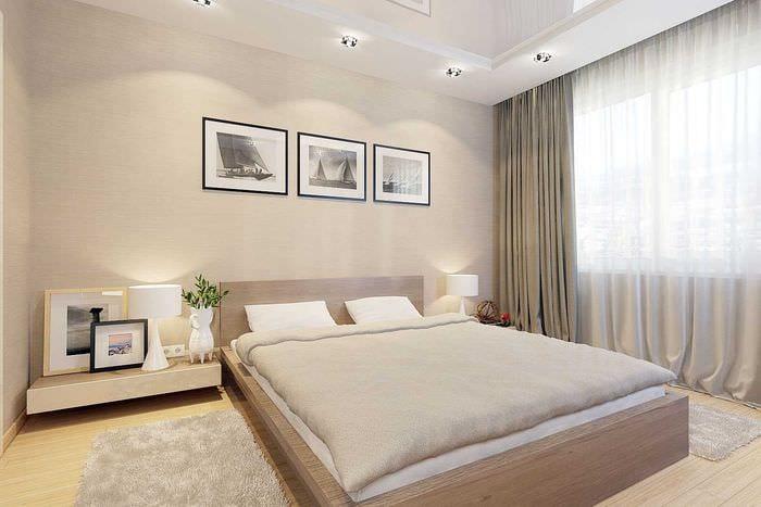 комбинирование светлых цветов в стиле спальни