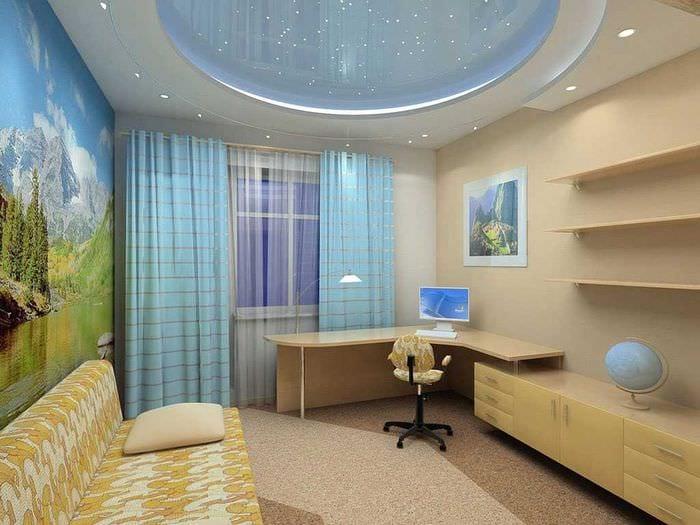 комбинирование светлых штор в стиле гостиной