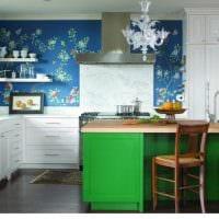 комбинирование ярких оттенков в интерьере кухни картинка