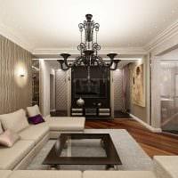 сочетание ярких обоев в интерьере гостиной комнаты фото