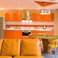 сочетание темного оранжевого в стиле кухни с другими цветами фото