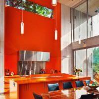 сочетание яркого оранжевого в интерьере кухни с другими цветами фото
