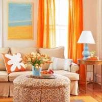 сочетание темного оранжевого в декоре комнаты с другими цветами фото