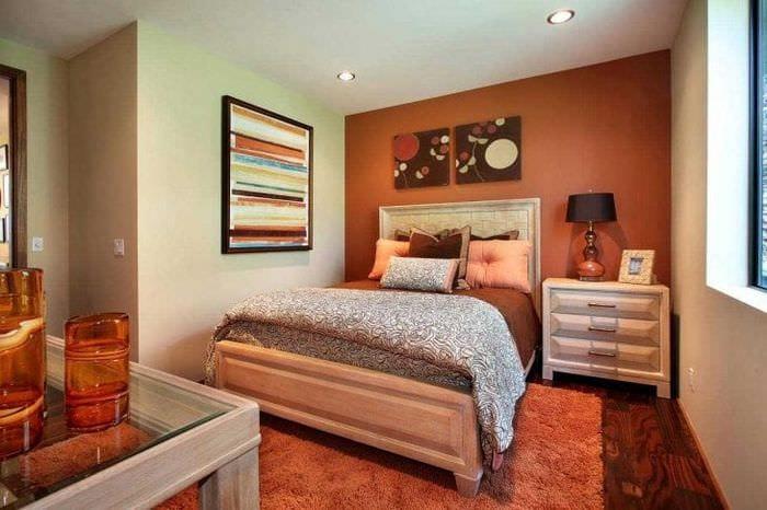 отметьте этот дизайн спальни в оранжевых тонах фото только