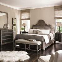 сочетание светлого серого цвета в стиле спальни картинка