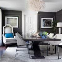 сочетание яркого серого цвета в стиле гостиной фото