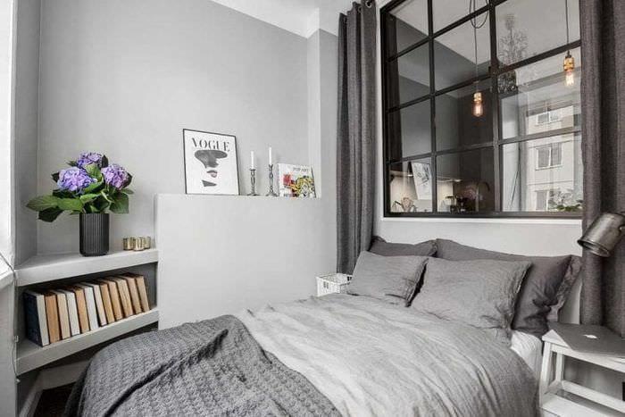 сочетание светлого серого цвета в стиле спальни