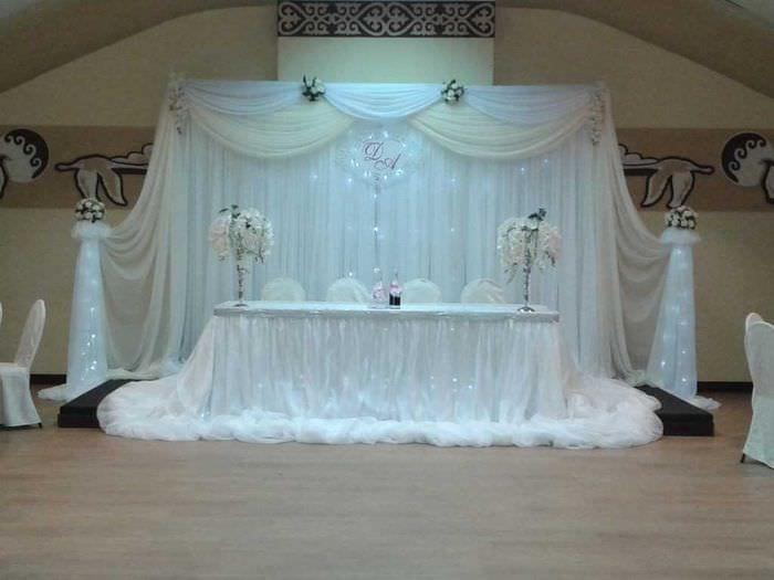 яркое декорирование зала ленточками