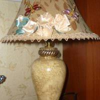 необычное оформление абажура лампы подручными материалами фото