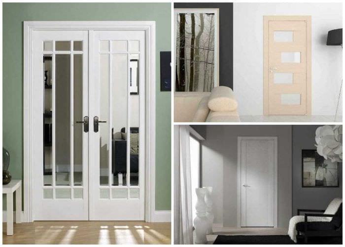 деревянные двери в интерьере комнаты