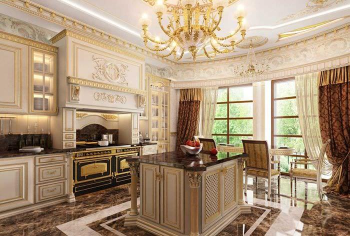 красивый дизайн гостиной в стиле ампир
