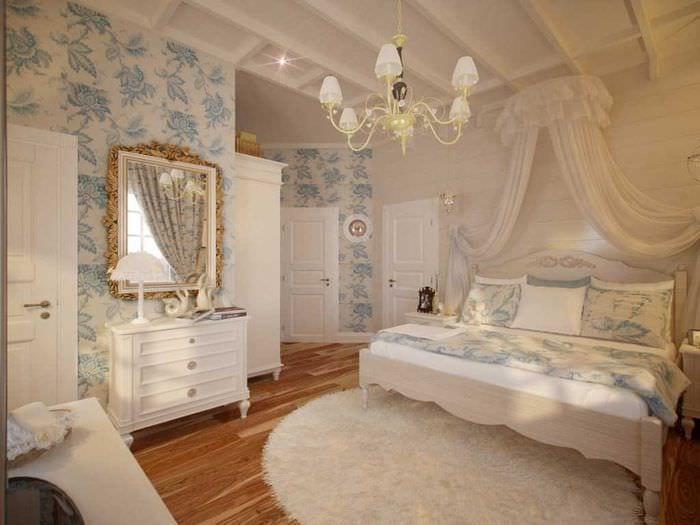 яркий интерьер спальни в стиле прованс