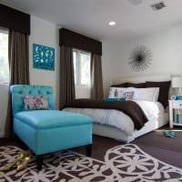 яркий дизайн комнаты в голубом цвете фото