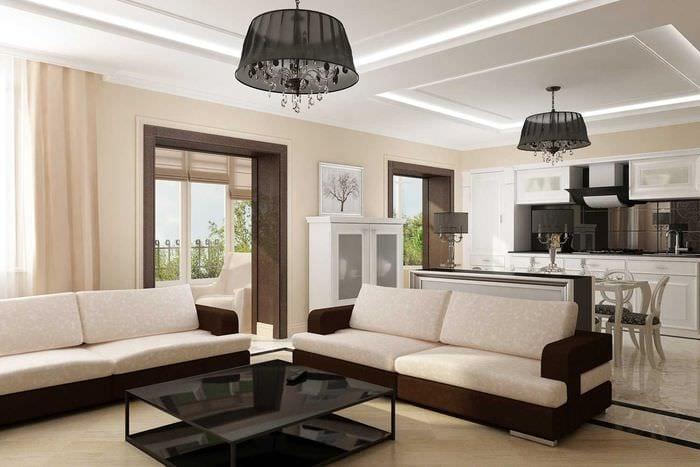 светлый дизайн гостиной в стиле модерн