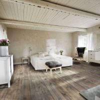 красивый дизайн спальни со старыми досками фото