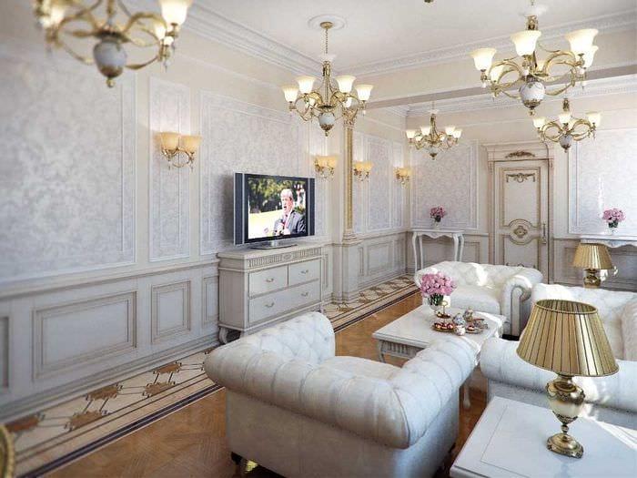 необычный интерьер гостиной со стеновыми панелями