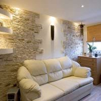 необычный гибкий камень в дизайне комнаты фото