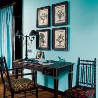 оригинальный дизайн гостиной в голубом цвете картинка