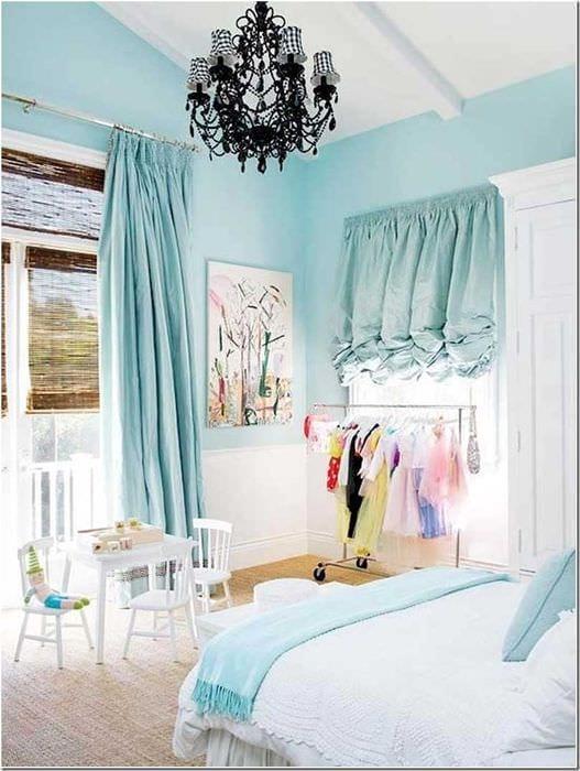 оригинальный стиль спальни в голубом цвете