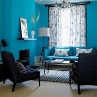 красивый интерьер спальни в голубом цвете картинка