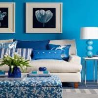 оригинальный интерьер квартиры в голубом цвете картинка