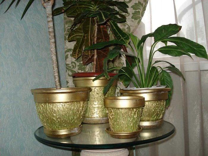 идея необычного украшения цветочных горшков