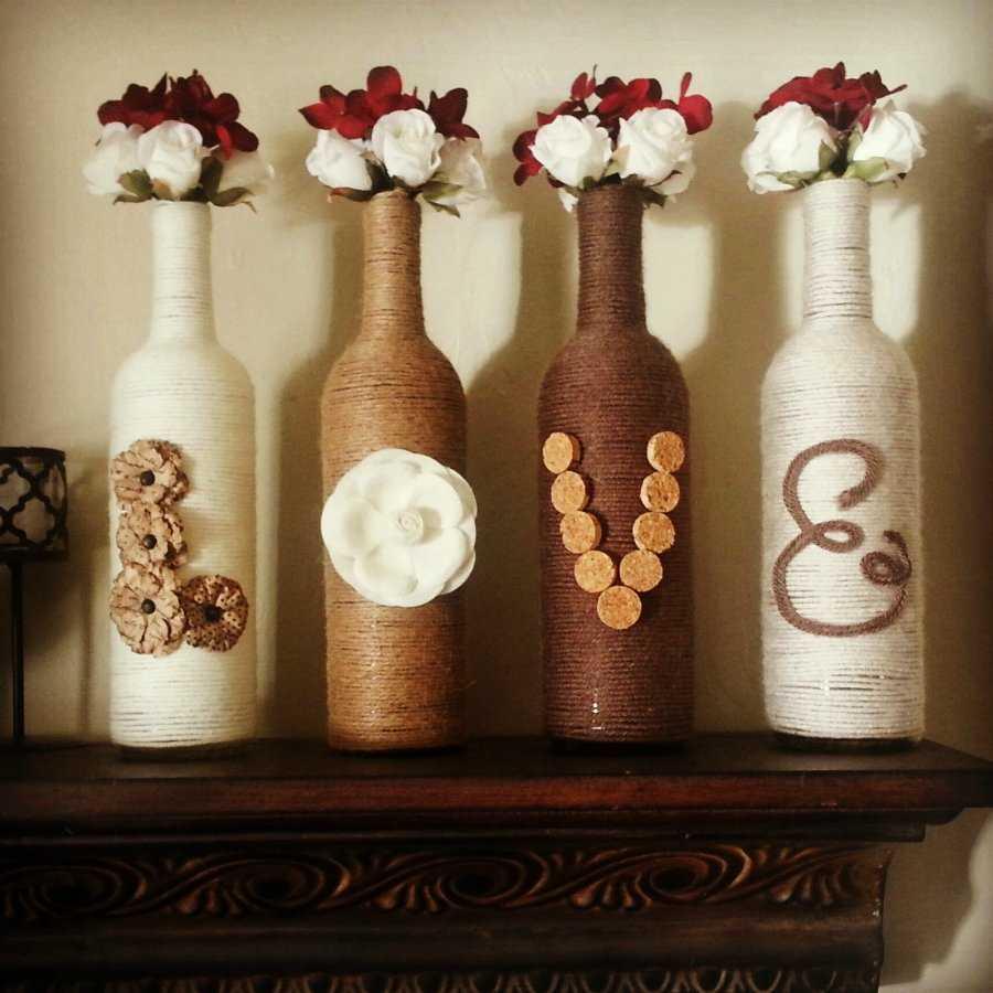 идея красивого оформления бутылок шпагатом