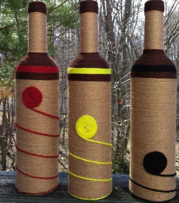 вариант яркого оформления бутылок шампанского шпагатом