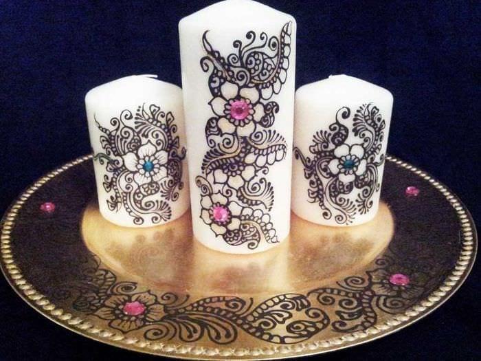 вариант шикарного декорирования свечек своими руками