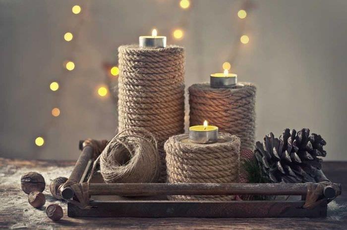 вариант шикарного декора свечек своими руками