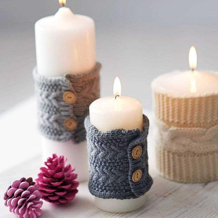 идея оригинального декорирования свечей своими руками