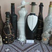 вариант яркого оформления бутылок шампанского шпагатом картинка