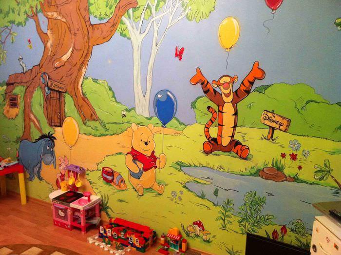 вариант светлого украшения детской комнаты