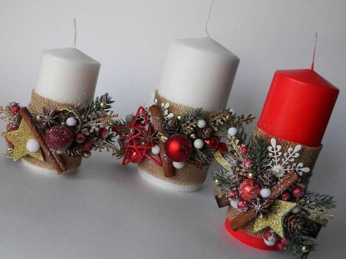 идея светлого декора свечек своими руками