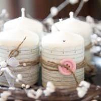 идея яркого декорирования свечек своими руками фото