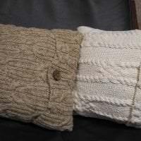 вязанные подушки в стиле комнаты фото