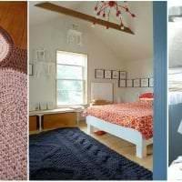 вязанные крючком подушки в декоре гостиной фото