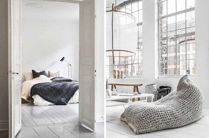 вязанные подушки в интерьере спальни