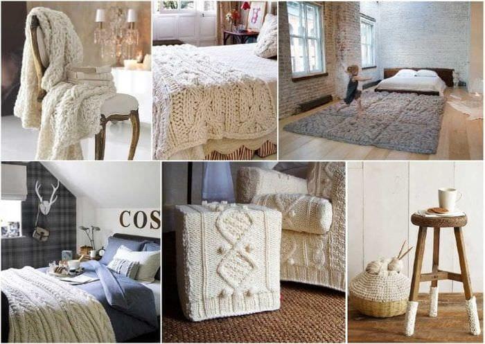 вязанные подушки в интерьере гостиной