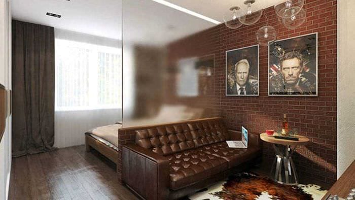 яркий декор гостиной спальни