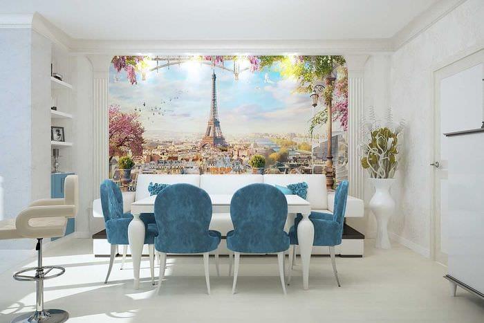красивый дизайн гостиной в голубом цвете