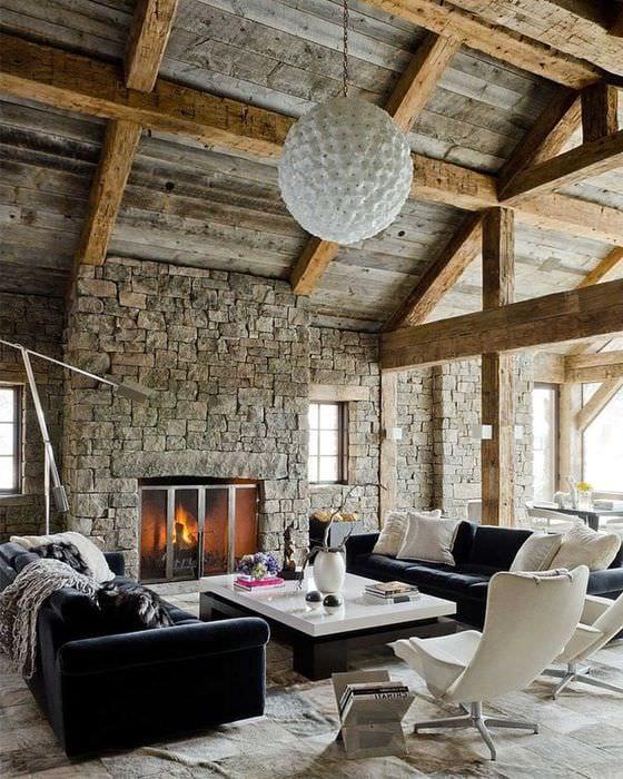 красивый дизайн квартиры в стиле рустик