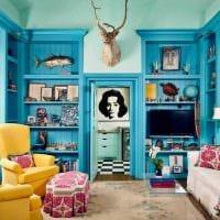 светлый дизайн квартиры в голубом цвете картинка