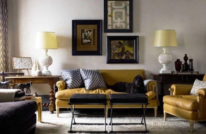 красивый дизайн квартиры в горчичном цвете