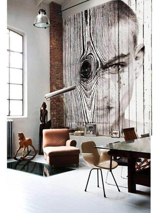 красивый дизайн гостиной со спилами дерева