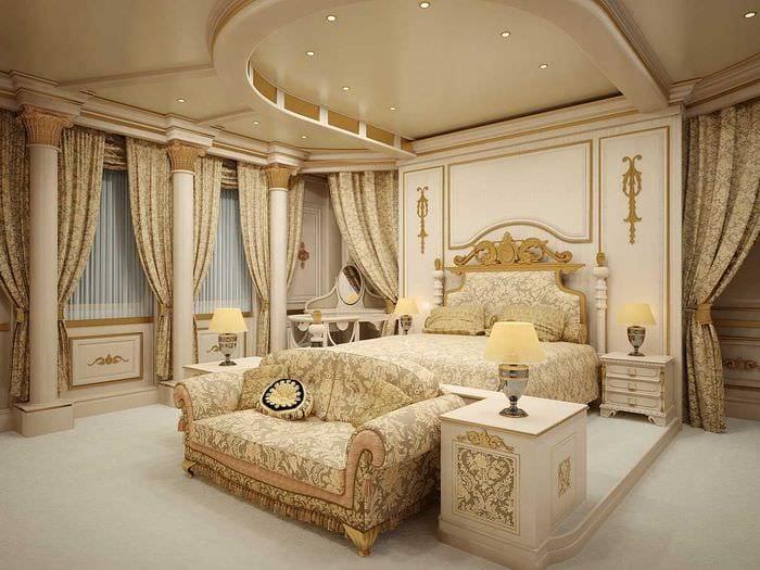 яркий дизайн комнаты в стиле ампир
