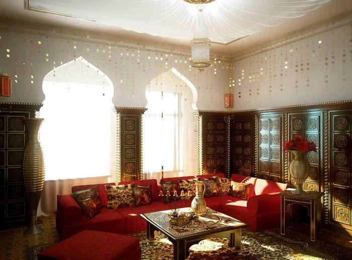 красивый интерьер гостиной в восточном стиле