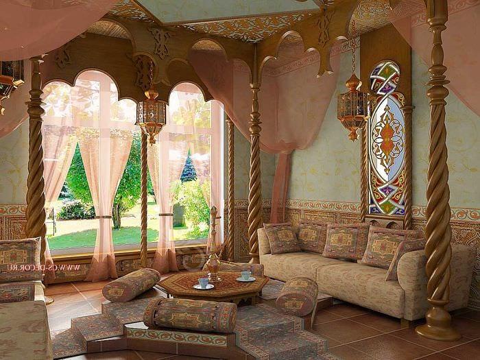 современный интерьер гостиной в восточном стиле