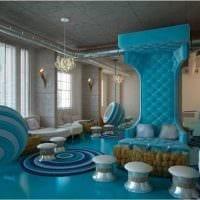 светлый стиль гостиной в голубом цвете фото